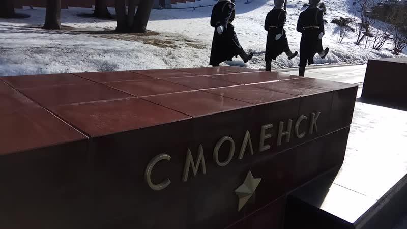 Караул печатает шаг в Александровском саду