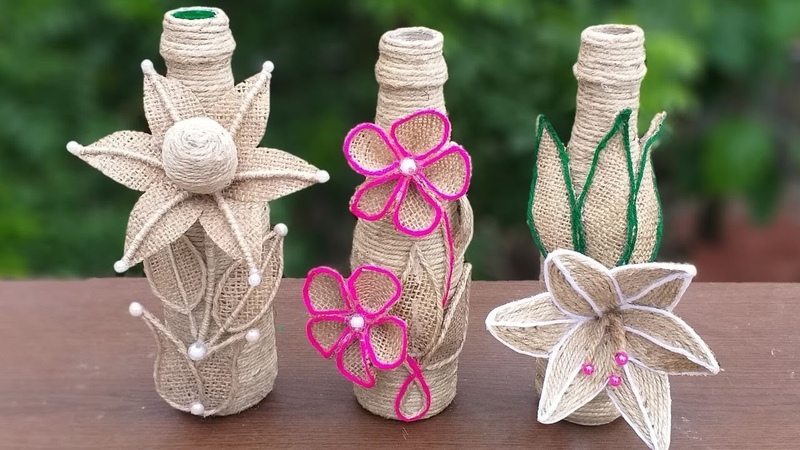 3 simple bottle decoration ideas with jute rope    jute burlap bottle decoration ideas