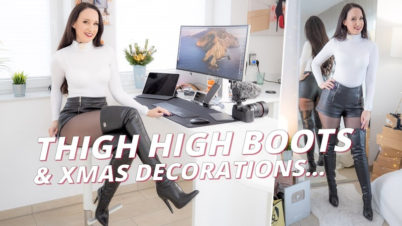Thigh high boots outfit black tights pantyhose XMas Vanessa Pur in over the knee boots