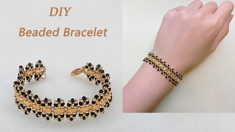 DIY Stylish Beaded Bracelet with Miyuki Half Tila beads Gold and Jet Black Seed Beads 手工制作个性串珠手链