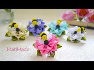Пчёлки Канзаши Цветы из Ленты МК Kanzashi Bees Flowers Tutorial