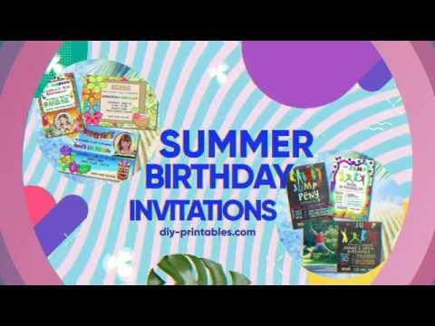 DIY Printables summer Birthday Party invitations