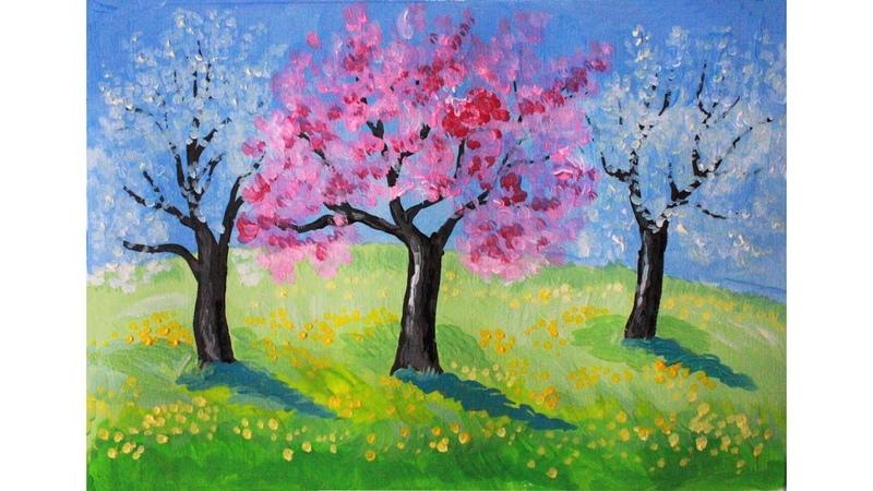 Как нарисовать ЦВЕТУЩИЙ САД (весна) гуашью Erich Krause   Art School