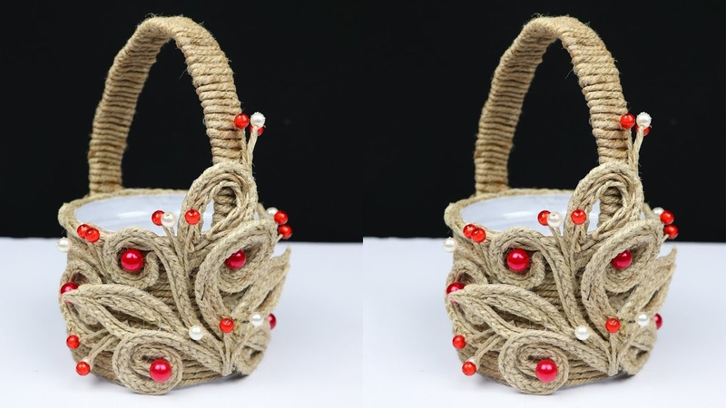 How to make a beautiful basket with plastic bottle and jute rope best out of waste