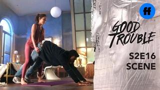 Good Trouble Season 2, Episode 16 Raj Isabella Do Downward Dog Freeform