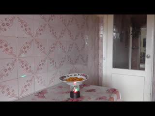 Интересное видео на кухне, тарелка на столе крутится, но я кушаю курагу