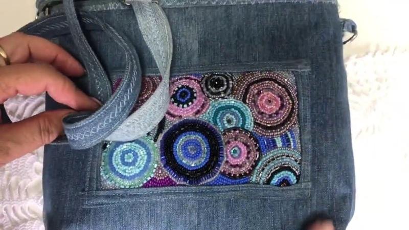 Шьем из кусочков джинс и из рубашечных тканей Крейзи квилт Текстильная пицца Органайзер на стол