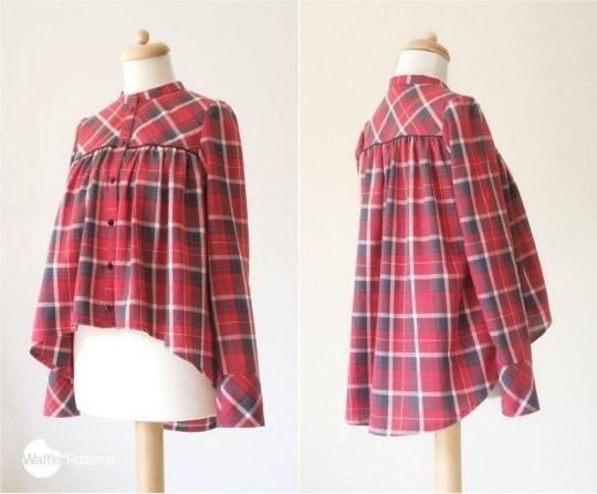 Выкройка рубашки-блузки , необычный вариант в клетчатом исполнении