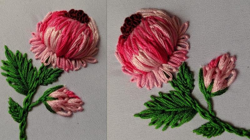 Amazing 3d Hand Embroidery Flower design Embroidery Flower design kurti dress kameez