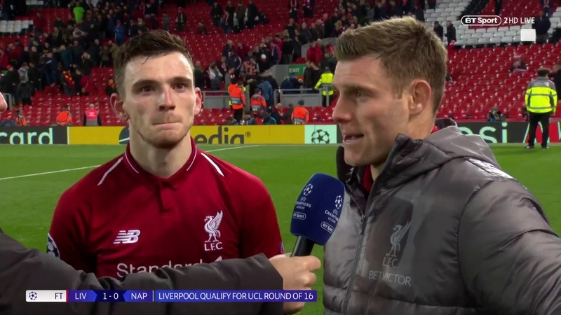 James Milner hails Anfield atmosphere following Liverpool's 1 0 win vs Napoli