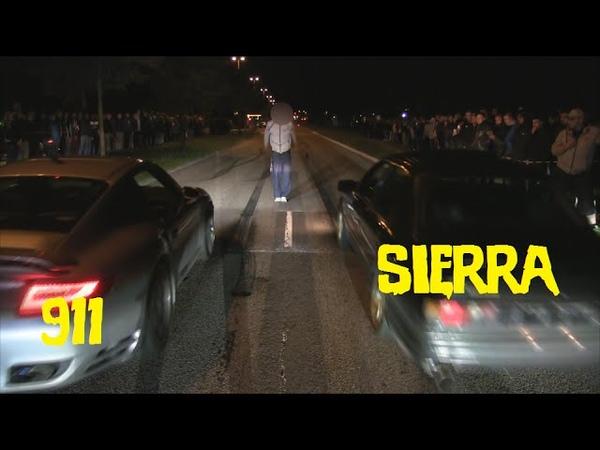 Porsche 911 Turbo vs Ford Sierra Cosworth Streetrace at Striben