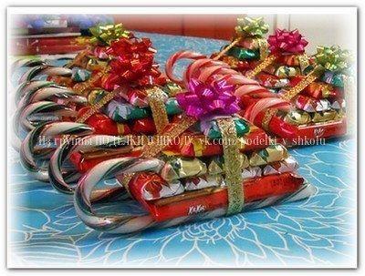 Сладкие новогодние сани Деда Мороза своими руками Вам понадобится: конфеты карамельные трости две штуки, плоские конфеты десять штук, одна небольшая шоколадка, клеевой пистолет (по-моему лучше