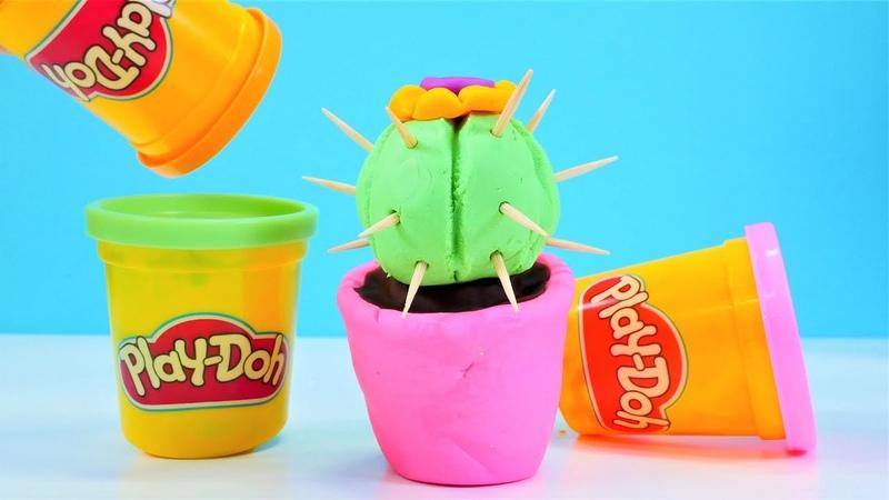 Play Doh Schule. Wir machen aus Knete ein Kaktus. Video für Kinder.