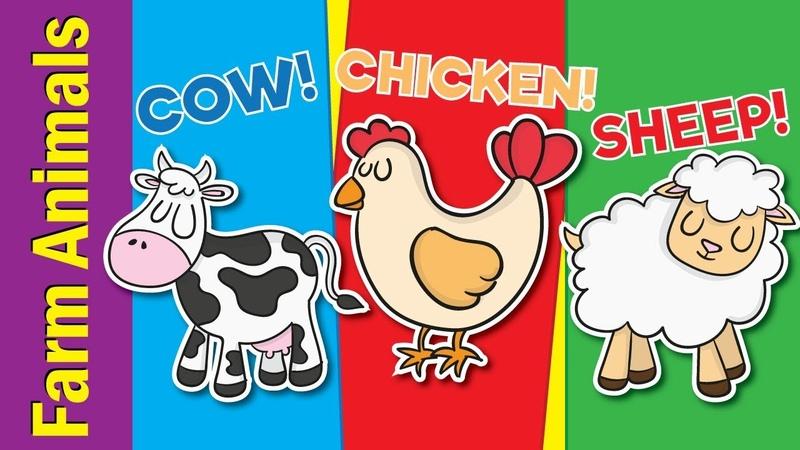 Learn Farm Animals for Kids Video Flash Cards Kindergarten Preschool ESL Fun Kids English
