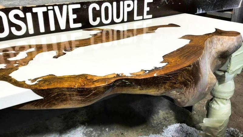 Slab in epoxy resin. Console Table made of wood. Столешница из Слэба и эпоксидной смолы.