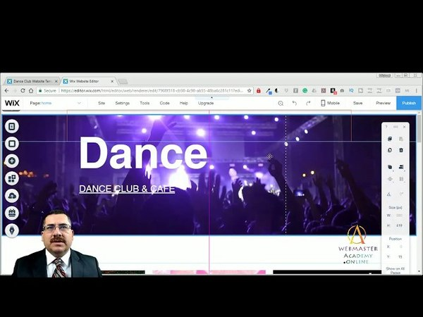 Dance Club Template from Wix - Web Design - Tutorial
