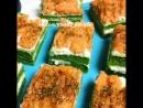 Закусочные пирожные со шпинатом, творожным сыром и красной рыбой.