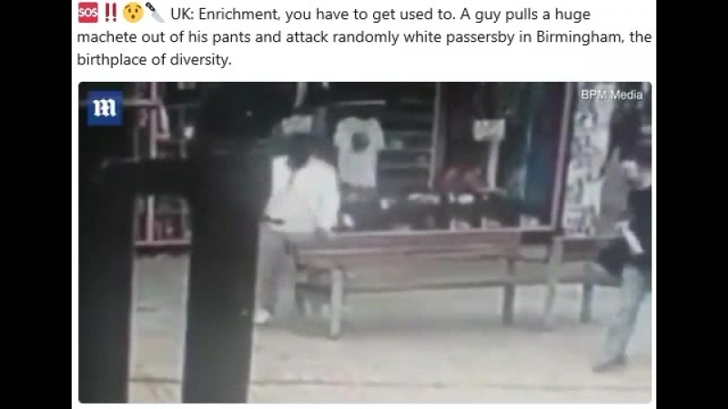 UK: Enrichment, you have to get used to. A guy pulls a huge machete out of his pants and attack randomly white passersby in Birm