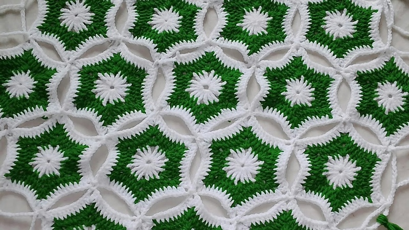 Crosia design thalpos,woolen rumal design, table cover, 12 by   Santosh All Art   