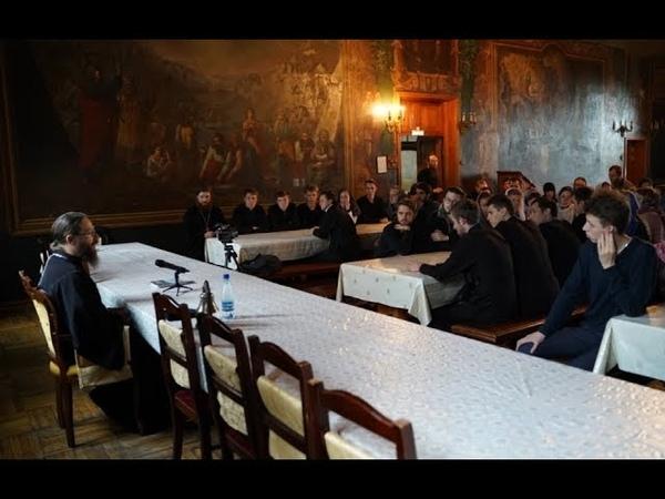 Беседа наместника Оптиной пустыни еп. Леонида с учащимися Московской духовной семинарии и академии