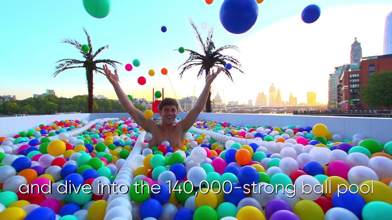 OLYMPIC DIVER TOM DALEY TAKES THE PLUNGE AT ENORMOUS NEW BALL POOL