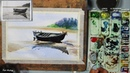 Riverside Boat Landscape painting in Watercolor | step by step with picture