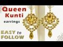 Earrings Queen Kunti with 14 mm rivolis tutoial