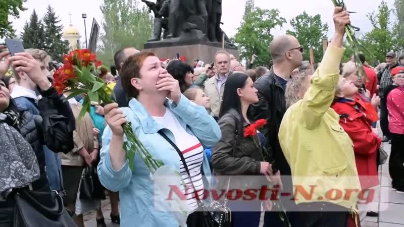 Под песню Журавли появились два клина журавлей над памятником героям Ольшанцам и кружил всё время пока звучала песня г Николаев