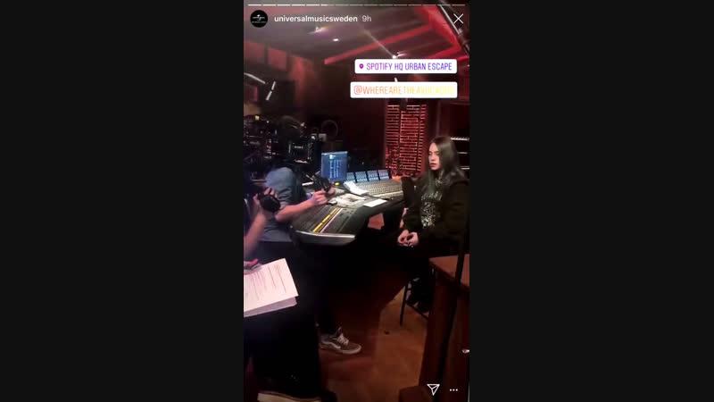 Billie filmed something at spotify's stockholm HQ