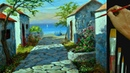 How to Paint Old Concrete Houses Near the Beach in Acrylic