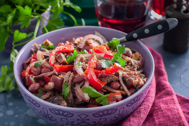 Салат жареное мясо рецепт с фото
