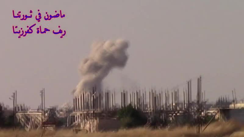 الطيران الحربي الروسي يقصف مدينة كفرزيتا بريف حماة 24 6 2019