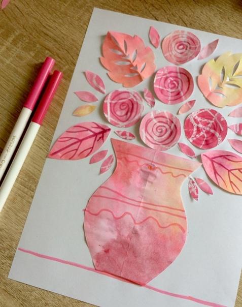 АППЛИКАЦИЯ БУКЕТ Очень красивая аппликация из самодельной цветной бумаги. Такой букет роз отлично подойдет в качестве поздравительной открытки на День матери (24