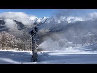 Снежные пушки, Роза Хутор, 13 января