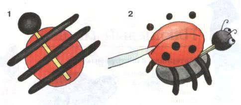 Простые поделки из пластилина - Божья коровка Слепите шар из красного пластилина и приплюсните его о поверхность стола. Слепите из чёрного пластилина шарик поменьше и расплющьте его в лепёшку