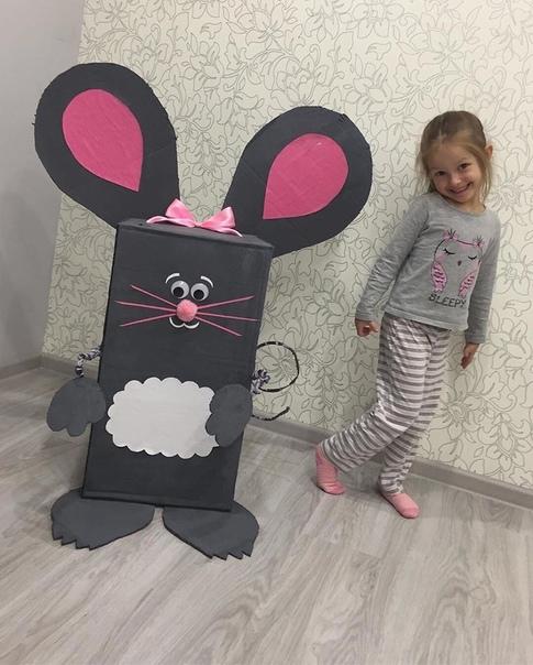 Вcтречайте нашу оригинальную мышку Использовали коробку, проволоку, красили гуашью