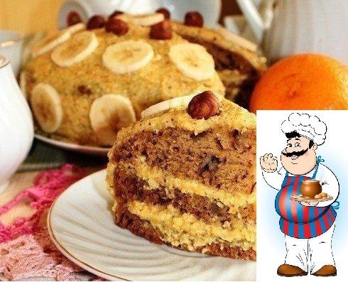 Апельсиновый торт с орехами и бананом (постный)