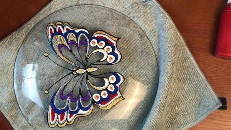 416 Декор тарелки Точечная роспись