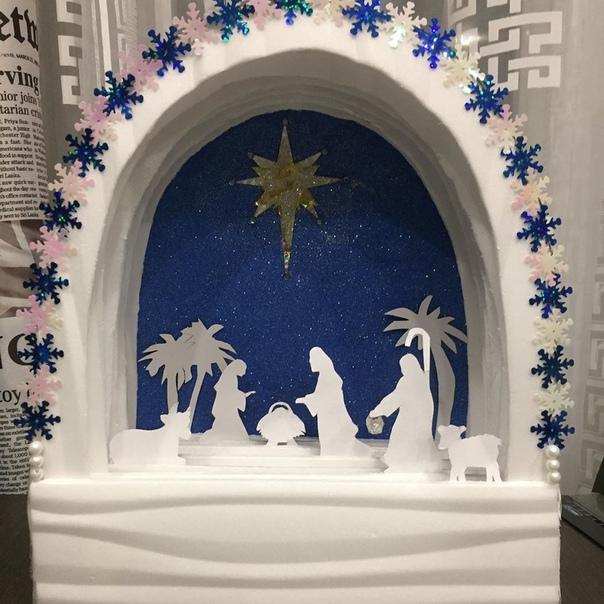 Поделкa к Рождеству Вифлеемская звезда Выполнена из потолочной плитки