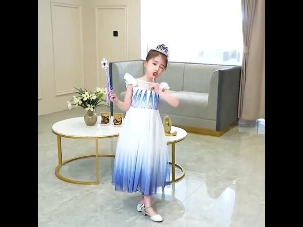 Платье принцессы эльзы для девочек летние платья с вуалью детская одежда ролевых игр героями