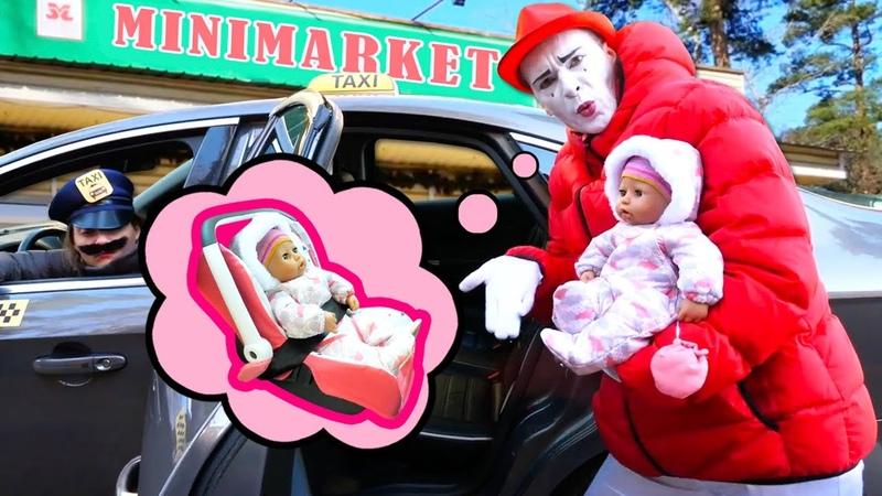 Le monde drôle de bébé born et du mime Promenade au magasin Vidéo pour enfants