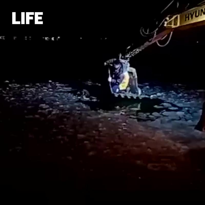 Строитель в ковше экскаватора спас тонущего пса