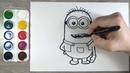 Как нарисовать Миньона. Персонаж из м/ф Гадкий я. Раскраска для детей. Рисунки для начинающих