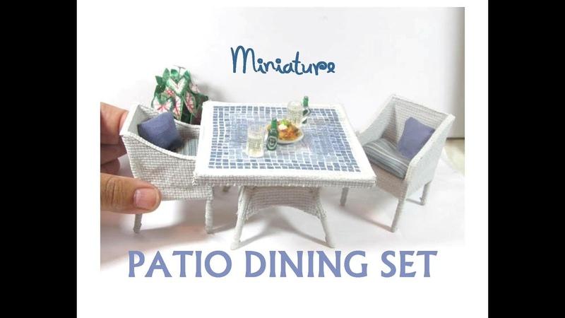 DIY Dollhouse Miniature Faux Wicker Faux Mosaic Tile Patio Dining Set
