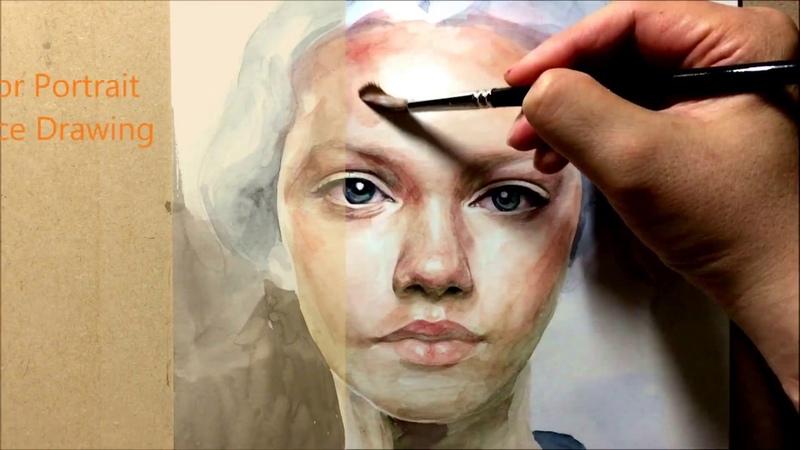 LV. 1 Watercolor Portrait painting demo인물수채화, 인체수채화
