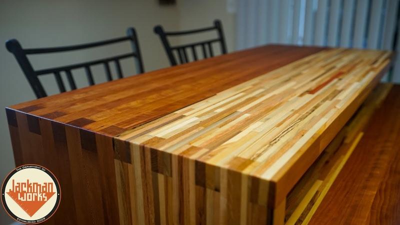 Pallet Wood Butcherblock Countertop that Pivots bar top ➔ dining table