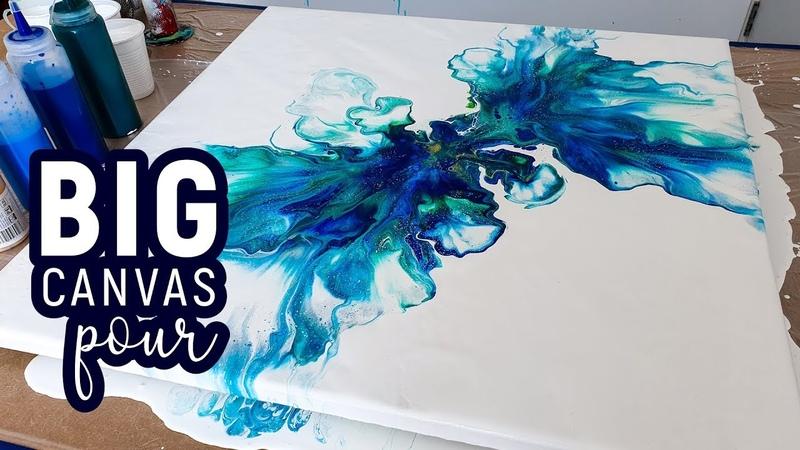 BIG Canvas Dutch Pour technique 😍 Power Pour 2 - Acrylic Pouring, Fluid painting