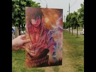 """3D постер ''Наруто и Саске"""""""