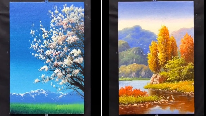 10 Super Beautiful and Easy Painting Ideas for Beginners Painting Beautiful scenery